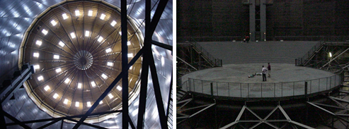 Ruhr gasometer: interior top & bottom
