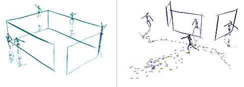 Sketches of 4 and 3-screen installations of Hand-Drawn Spaces